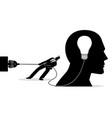 businessman trying to unplug light bulb brain vector image vector image