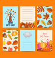 cartoon autumn leaves notes set vector image