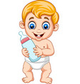 cartoon baby boy holding bottle milk vector image