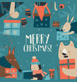 cartoon happy animals holding christmas presents vector image