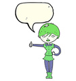 cartoon vampire girl giving thumbs up symbol with vector image vector image