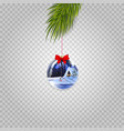 christmas tree branch with beautiful ball vector image vector image