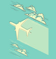 cloudy blue sky background with airplane for text vector image vector image