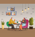 couple or friends drinking tea or coffee in cafe vector image vector image