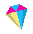 diamond icon fantasy world of the unicorn cartoon vector image