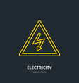 electricity flat line icon high voltage danger vector image vector image