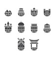 flat black world travel icon set vector image vector image