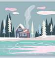 flat nordic landscape with house forest and lake vector image vector image