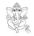 ganapati meditation in lotus pose vector image vector image