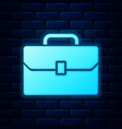 glowing neon briefcase icon isolated on brick wall vector image vector image