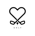 golf love icon in black color vector image vector image