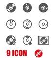 grey cd icon set vector image vector image