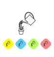 grey line watering can sprays water drops above vector image vector image