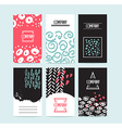 Hand drawn 6 cards with trendy textures and vector image vector image