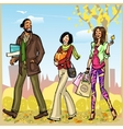 Happy people with shopping bags vector image
