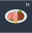 icon of grilled ham on plate top view vector image