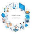 isometric artificial intelligence round concept vector image vector image