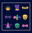 mardi gras card set icons vector image