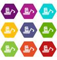 mini excavator icon set color hexahedron vector image vector image
