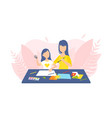 mother and daughter drawing and painting together vector image