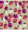 naive pink strawberries seamless pattern vector image