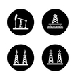 Oil industry black icons set vector image vector image