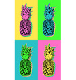Pop art design with colorful summer pineapple vector image vector image