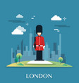 queen guard soldier in london ilustration vector image vector image