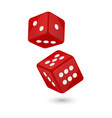 red realistic game dice vector image vector image