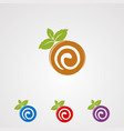 roll cake with mint leaf logo icon element and vector image