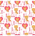 Seamless pattern with cute cartoon cat and heart vector image vector image