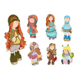 set cute dolls girl vector image vector image