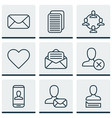 set of 9 social network icons includes ban person vector image vector image
