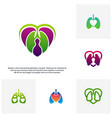 set of lungs love hearth logo concept health vector image vector image