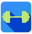 Sport icon with gym dumbbell in flat style vector image vector image