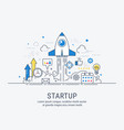startup concept with thin line flat modern design vector image