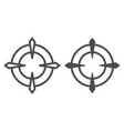target line and glyph icon aim vector image