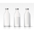 transparent glass milk bottles dairy products vector image vector image