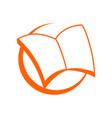 Wide open book symbol logo design vector image