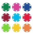 Gambling casino poker chips color set vector image