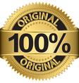 Golden 100 percent original label vector image