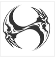 Yin Yang Skull - black and white tattoo design vector image