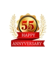 55 years anniversary golden label with ribbons vector image vector image
