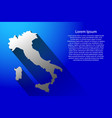 abstract map of italy with long shadow on blue vector image