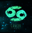 abstract zodiac sign cancer on a dark vector image
