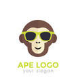 ape monkey in sunglasses logo template vector image vector image