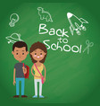 back to school two pupil board chalk text draw vector image vector image