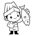 black and white funny chef mascot directed vector image vector image