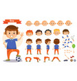 boy playing sports and toys cartoon kid vector image