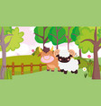 bull and ram wooden fence trees flowers farm vector image vector image